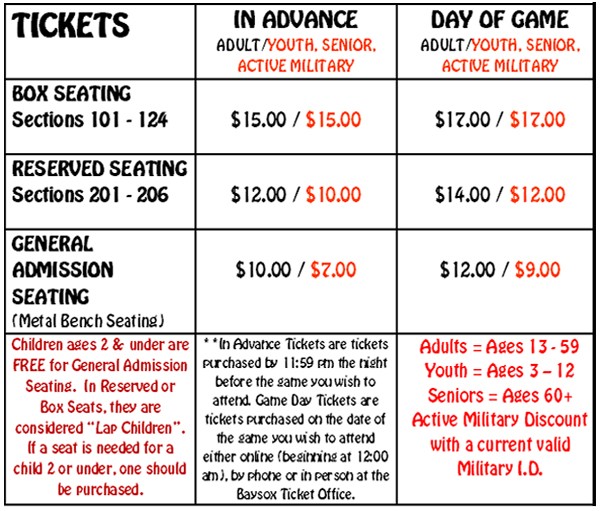 Pricing Grid: Seating Chart & Ticket Info