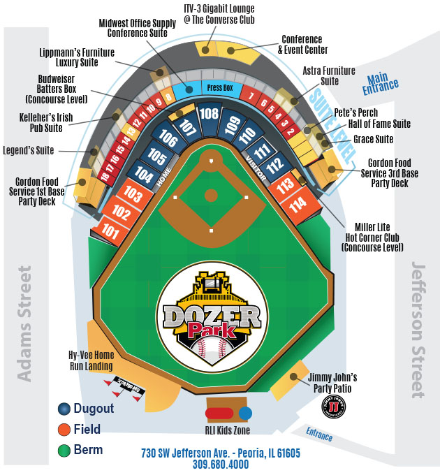 Stadium seating chart peoria chiefs dozer park