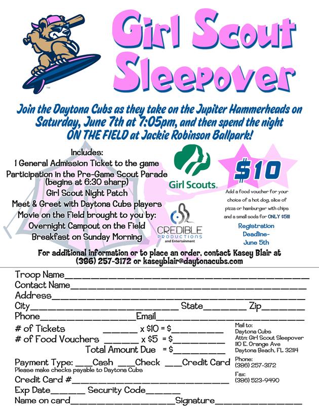 2014 Girl Scout Sleepover | Daytona Tortugas Groups