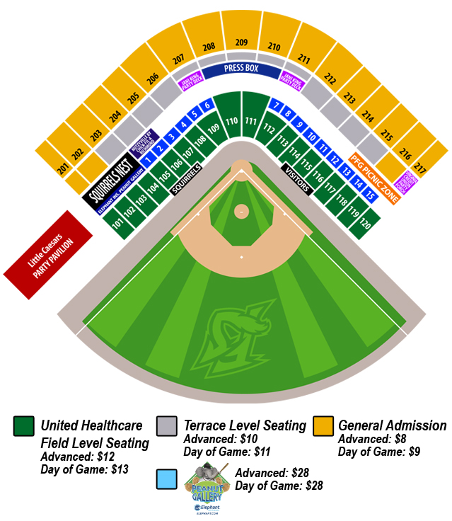 Seating Chart | Richmond Flying Squirrels Tickets