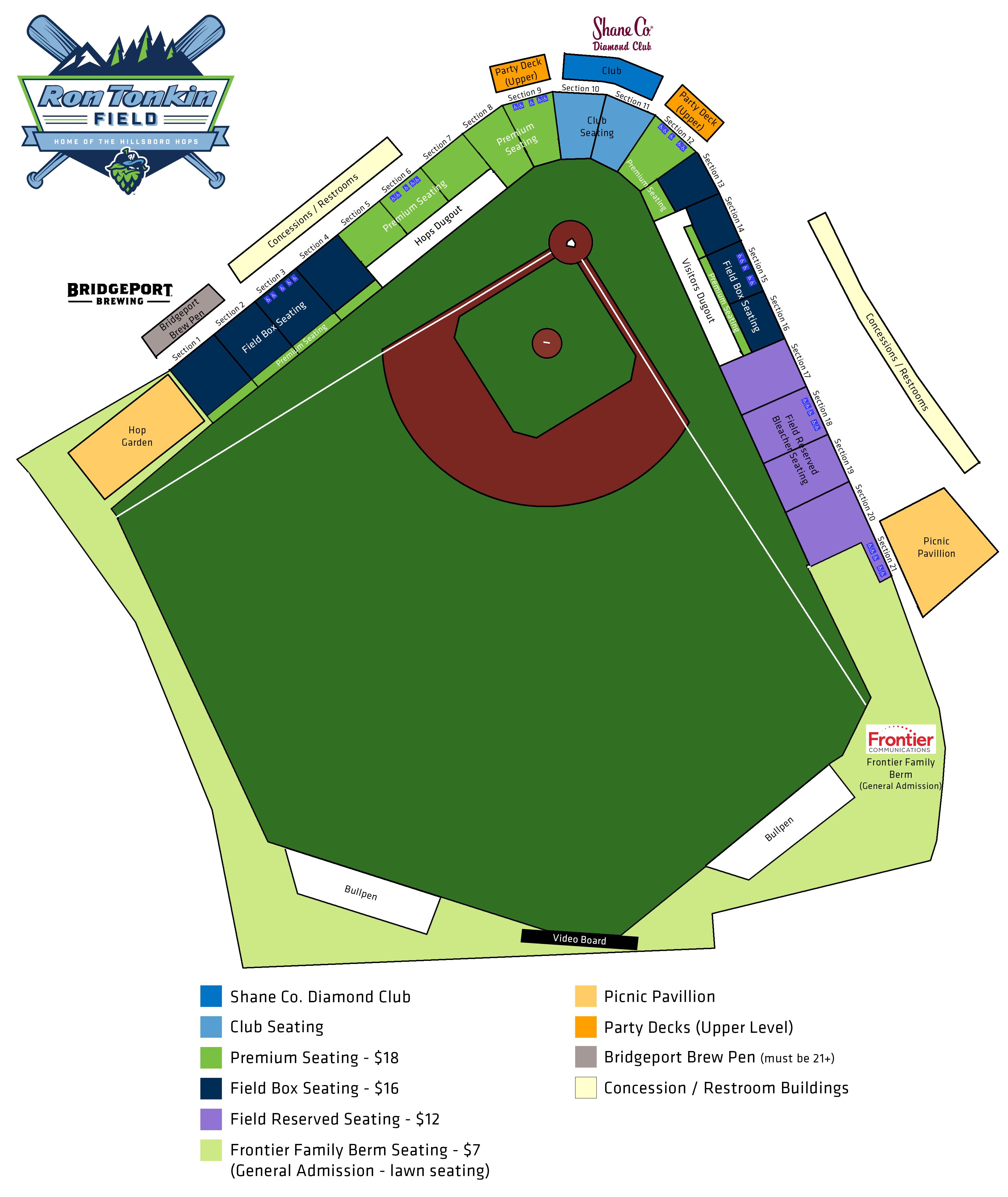 Seating Chart Hillsboro Hops Ron Tonkin Field