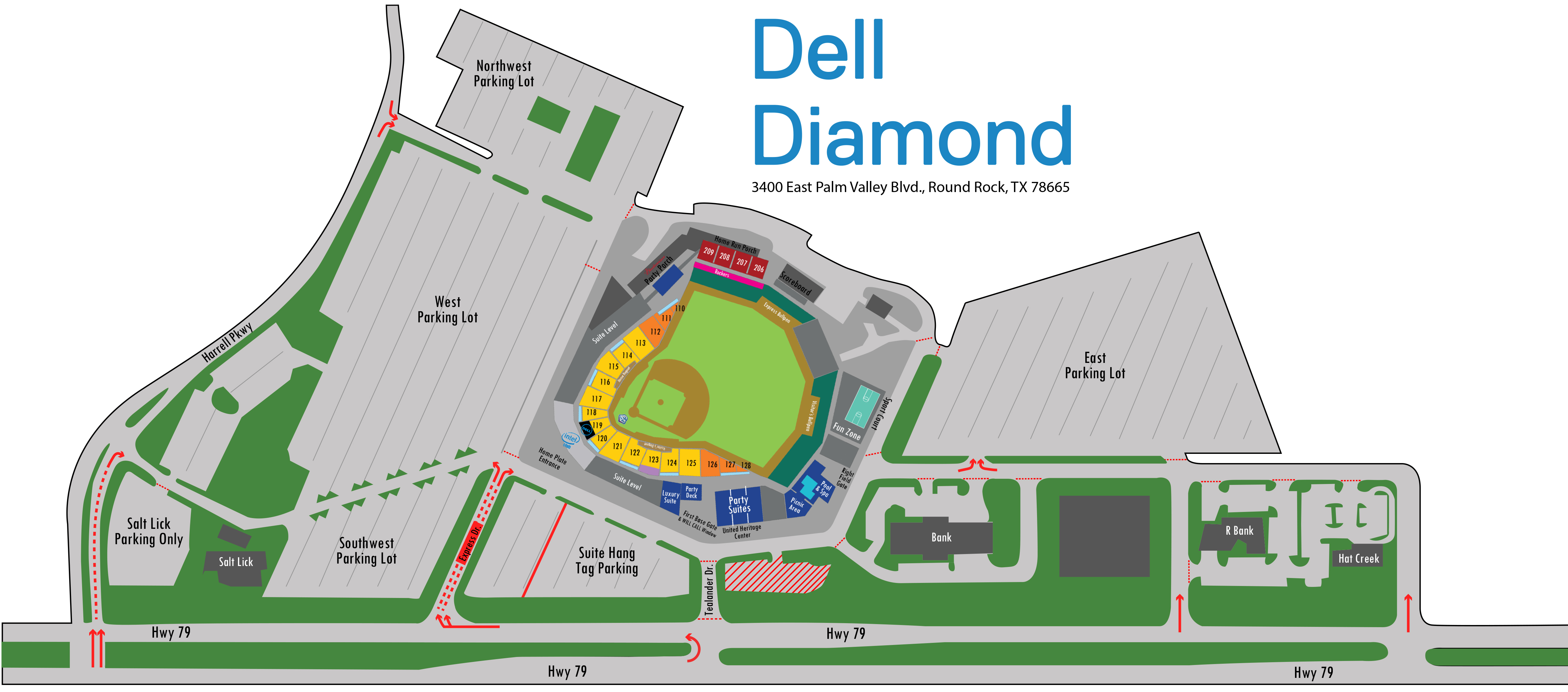 Directions & Parking | Round Rock Express Dell Diamond