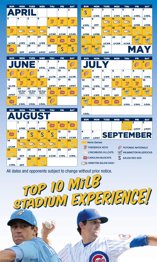 2016 Schedule | Myrtle Beach Pelicans Schedule