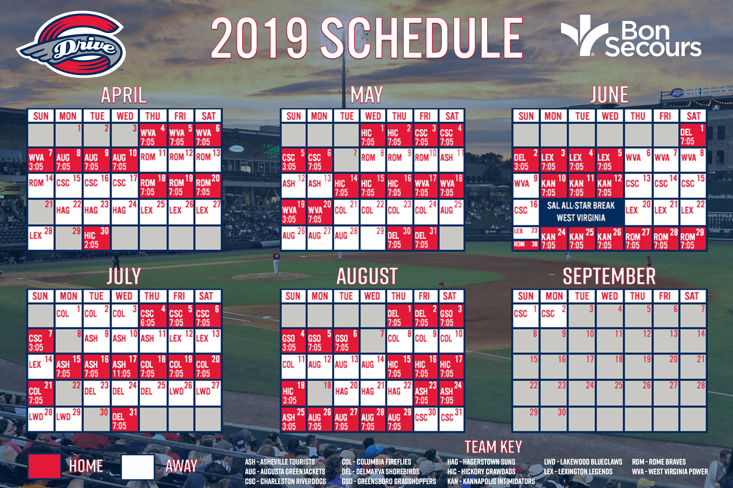 Red Sox Schedule July 2019 Greenville Drive | MiLB.com
