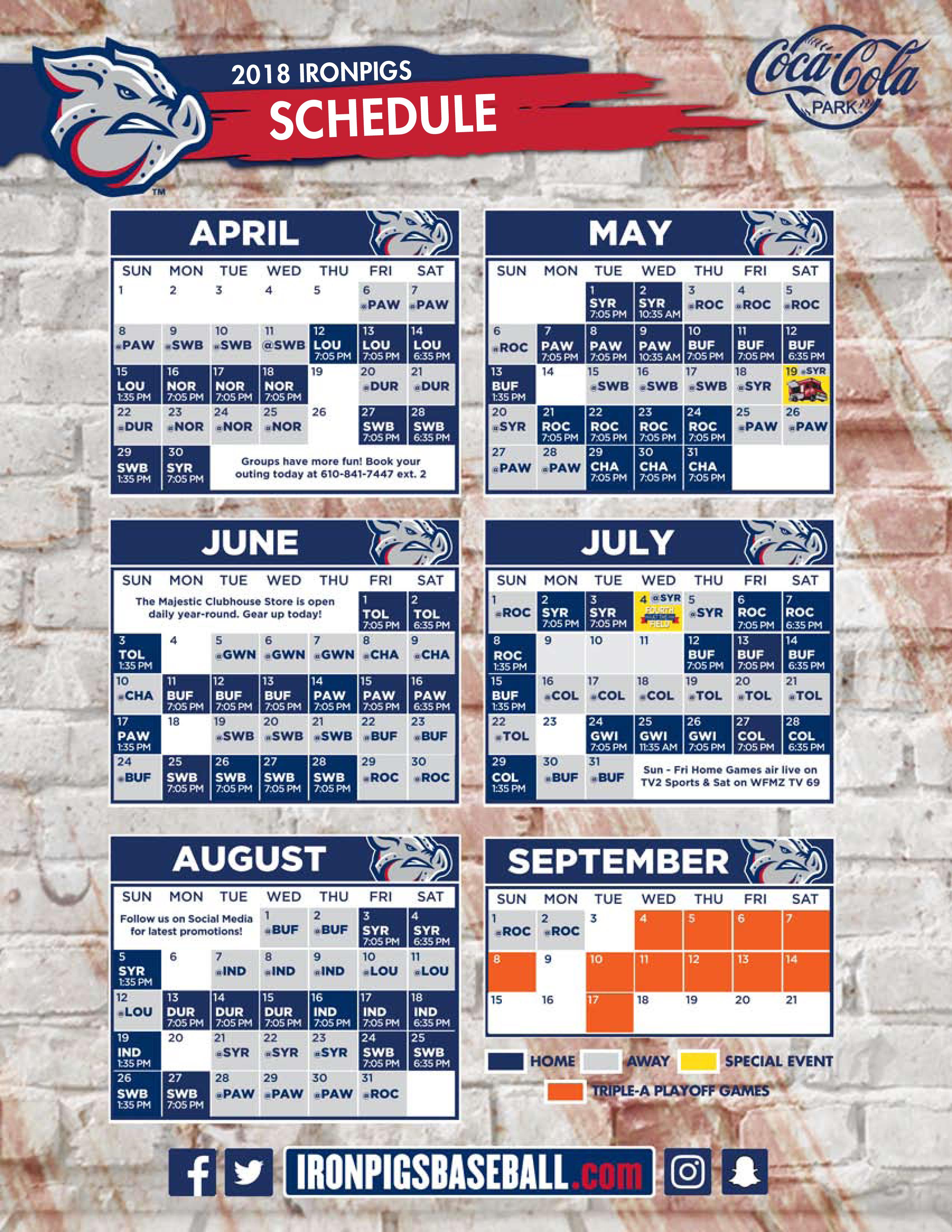 Ironpigs Schedule 2019 IronPigs Release 2018 Regular Season Schedule | Lehigh Valley