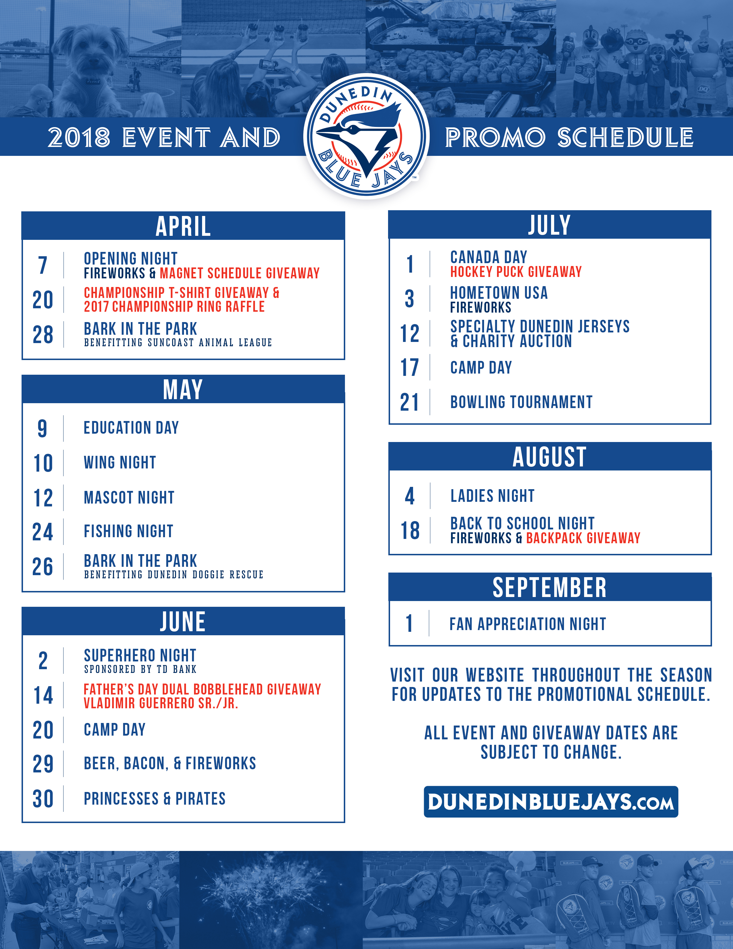 Dodgers Promotional Schedule 2019 Ticket Options   Dunedin Blue Jays Tickets
