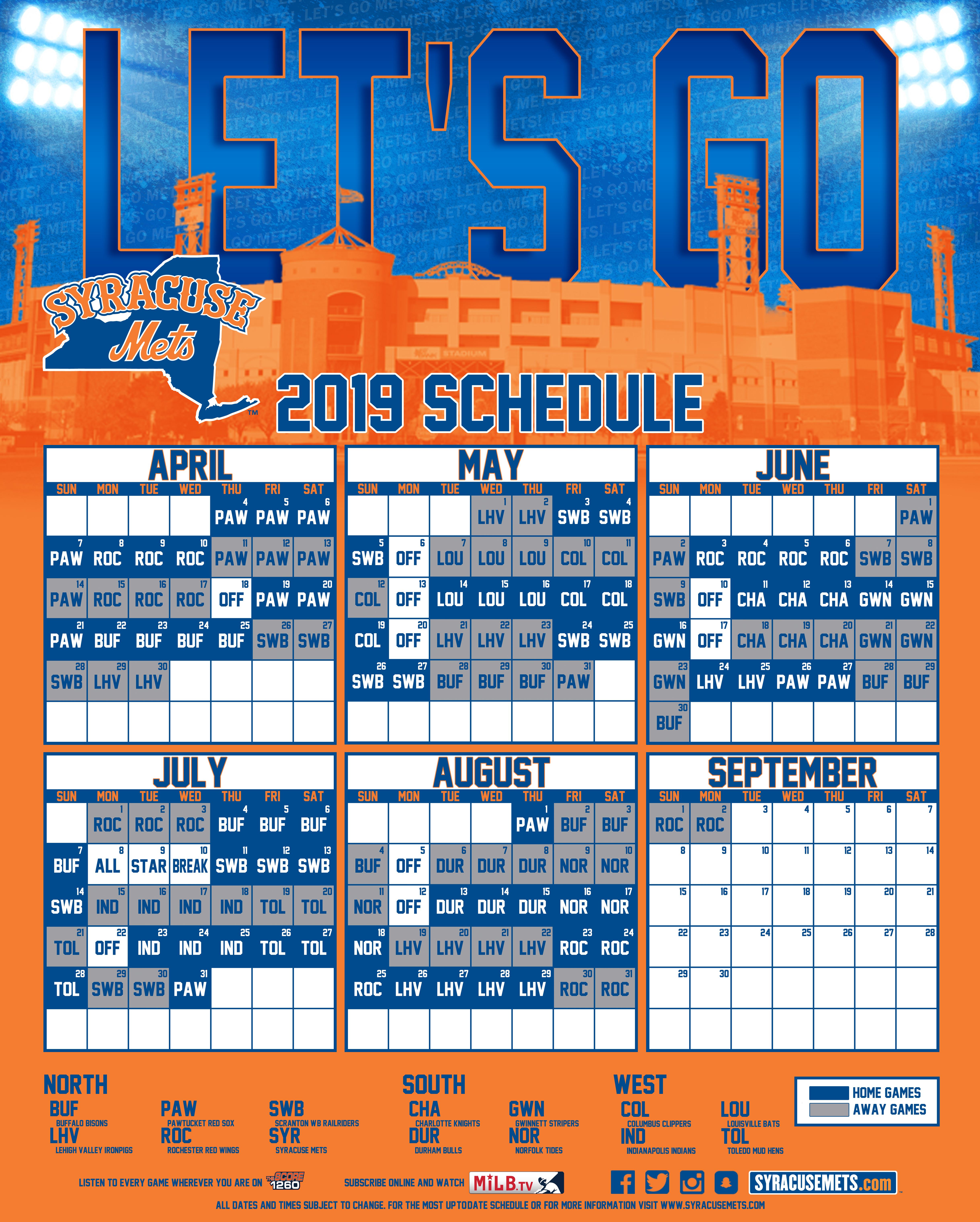 Ironpigs Schedule 2020 Syracuse Mets Schedule | Schedule | Mets