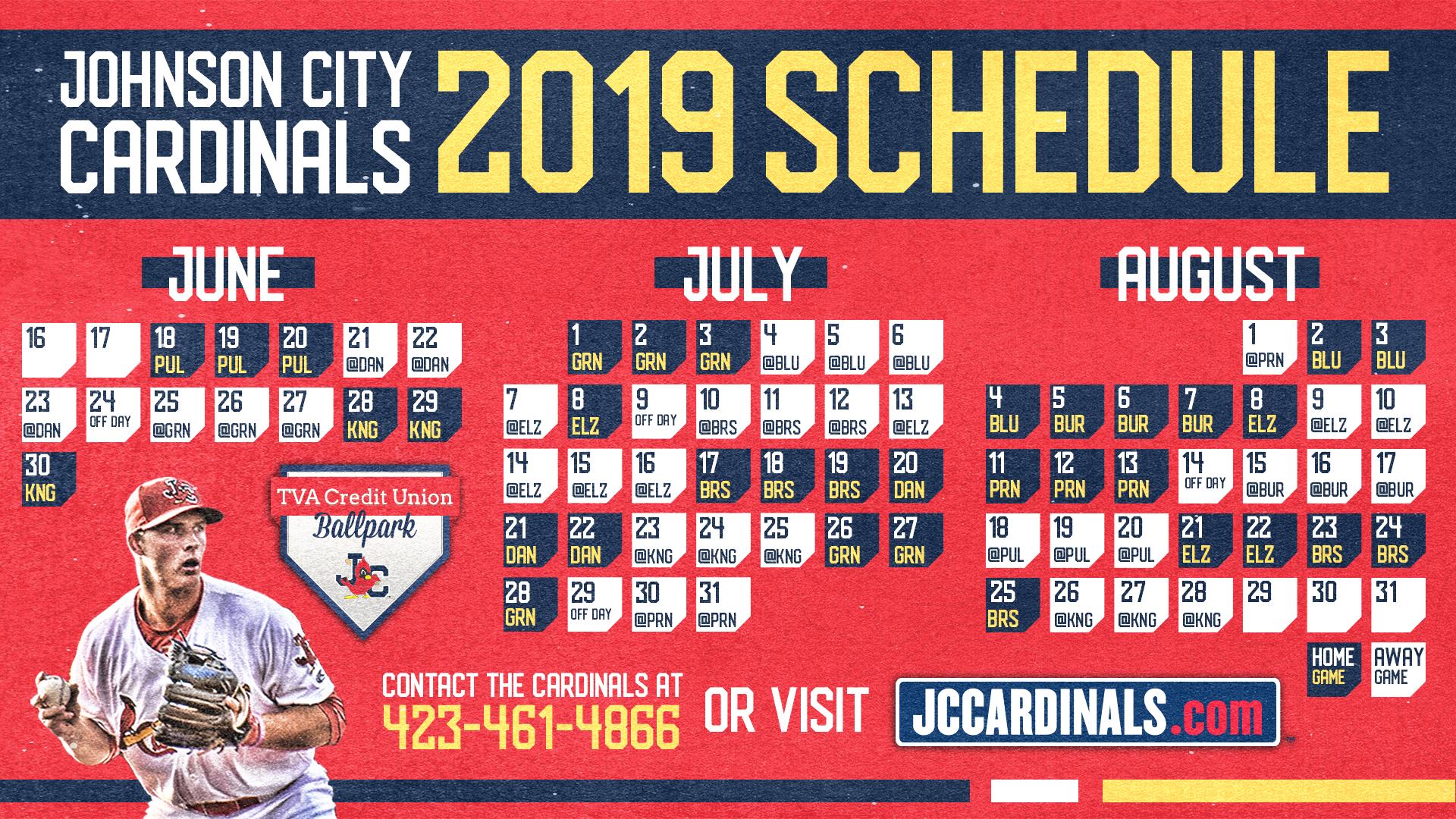 St Louis Cardinals 2019 Calendar CARDINALS RELEASE 2019 SCHEDULE | Johnson City Cardinals News